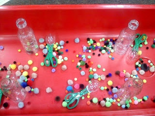 Coyne's Crazy Fun Preschool Classroom: Sensory table with tongs and bottles