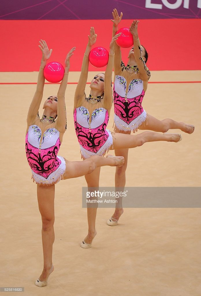 The Greece team compete in the Rhythmic Gymnastics group qualification at Wembley Arena at the Olympic Summer Games - London 2012