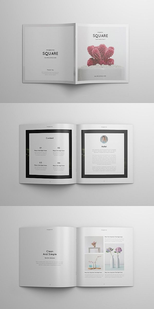 square portfolio magazine brochure templates pinterest booklet