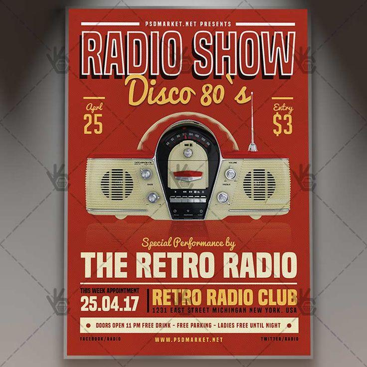 Radio Show - Premium Flyer PSD Template.  #80s #90s #beatbox #boombox #club #concert #fest #festivalf #folk #indie #music #old #party #popart #radio #retro #vintage  DOWNLOAD PSD TEMPLATE HERE: https://www.psdmarket.net/shop/radio-show-premium-flyer-psd-template/  MORE FREE AND PREMIUM PSD TEMPLATES: https://www.psdmarket.net/shop/