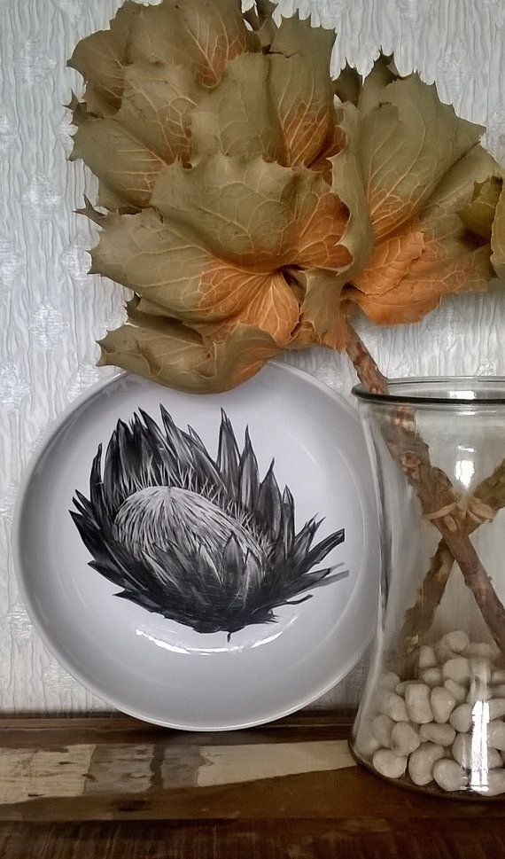 Black & white ceramic protea serving bowl by BlakeleyDesigns