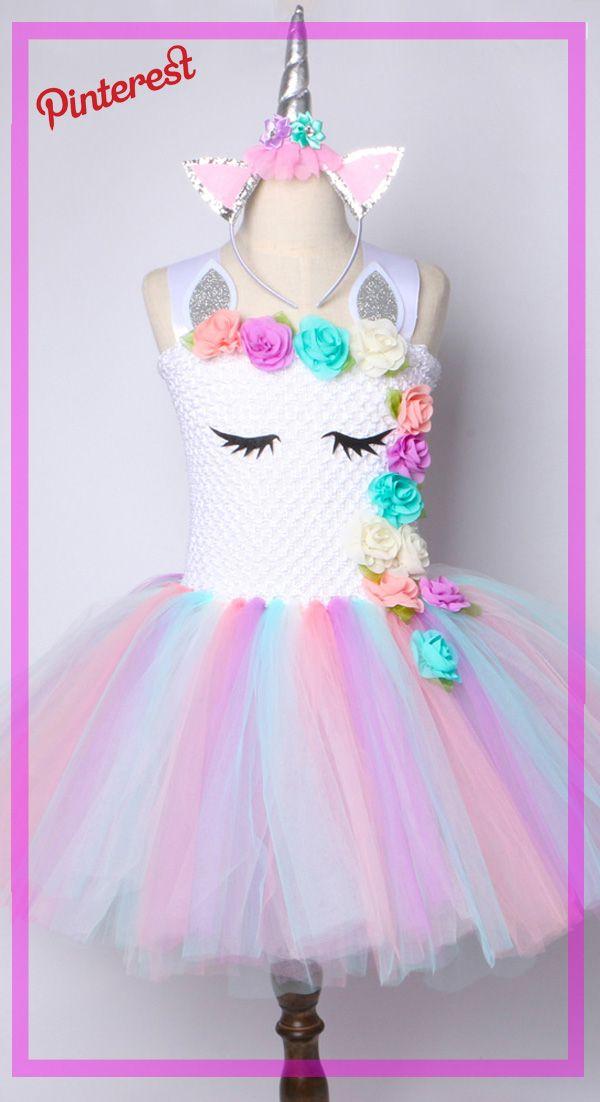 d334e7a54 Flor Chicas Vestido Tutu Vestido de Unicornio Pastel Del Arco ...
