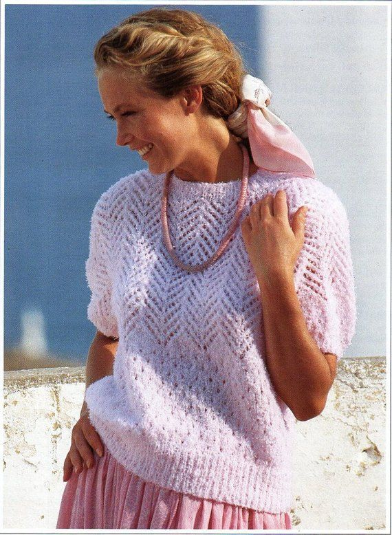 df00ba9cd L8516 womens knitting pattern pdf download womens short sleeve sweater  ladies lacy jumper 30-40 4ply fingering pdf instant download …