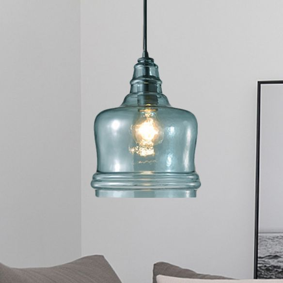 8 Wide Drum Pendant Light Modern Blue Glass 1 Light Black Hanging Lamp With Round Canopy Modern Pendant Light Drum Pendant Lighting Blue Pendant Light