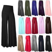 Wish | New Women Ladies Palazzo Plain Flared Wide Leg Pants leggings Baggy Trousers