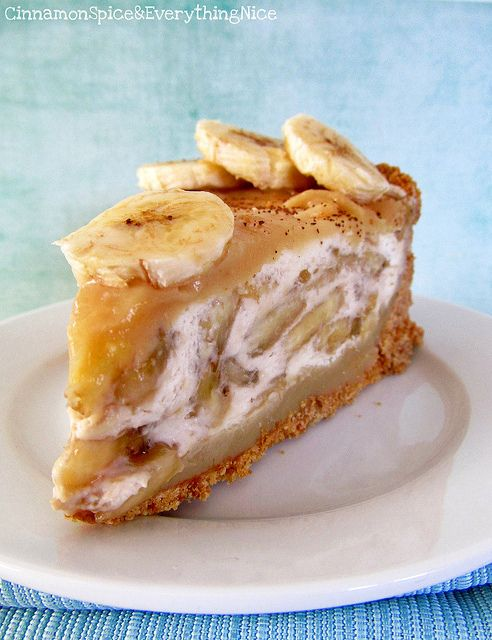 Banoffee Pie ~ Banoffee Pie is a seductive British pie creation that combines sweet, sliced bananas with fresh whip cream and toffee sauce in a cookie crust. Essentially, it's banana cream pie kicked up a notch or two. The toffee sauce is the star – it's like liquid love – sticky, sweet and sinfully delicious.