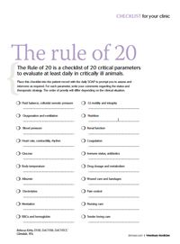 Checklist: The rule of 20 - Veterinary Medicine