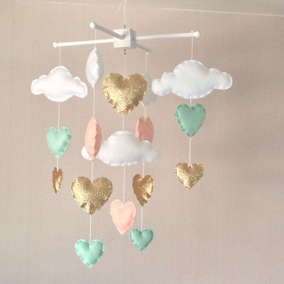 Baby mobile - Baby girl mobile - Cot mobile - Heart mobile - Cloud Mobile - Nursery Decor - Clouds and hearts - Gold, mint green and coral