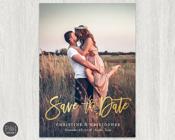 Gold Foil Save the Date Photo Invitation Postcard or Photo Collage Back Customized Printable (5x7)