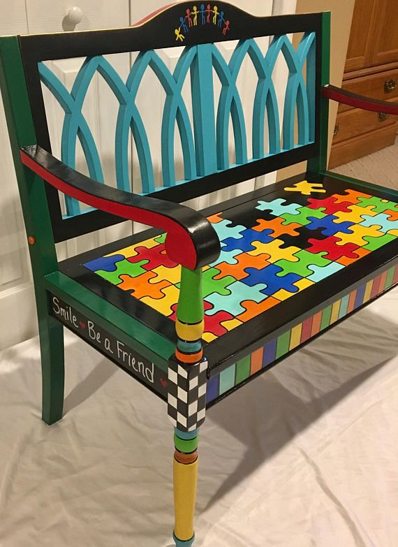 Whimsical Painted Furniture Whimsical Painted Bench Custom