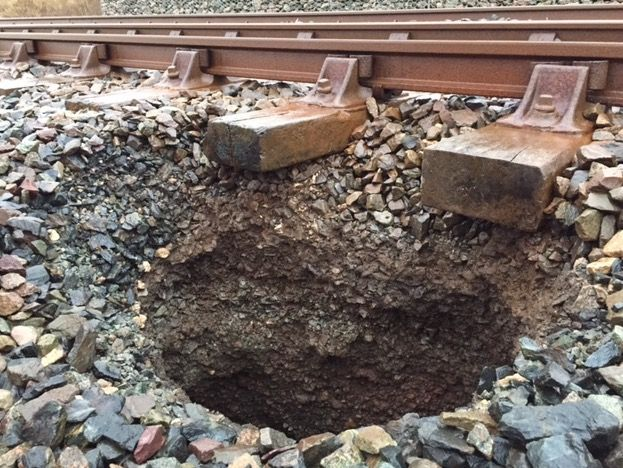 Engineers working to repair rare sinkhole on Cumbrian coast railway https://www.cumbriacrack.com/wp-content/uploads/2018/01/Sink-hole-on-Cumbrian-coast-railway.jpg A sink hole on the railway is disrupting train services between Whitehaven and Workington on the Cumbrian coast.    https://www.cumbriacrack.com/2018/01/05/engineers-working-repair-rare-sinkhole-cumbrian-coast-railway/