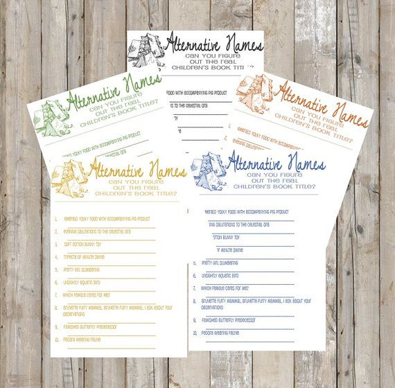 Storybook Theme Baby Shower  Baby Shower Game  by TheDoubleDubs