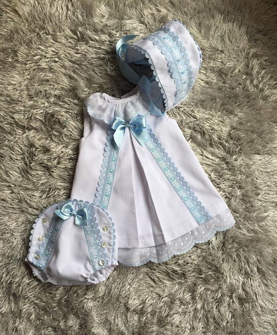 New Handmade White Floral Embroidery with Blue Lining Baby Bonnet