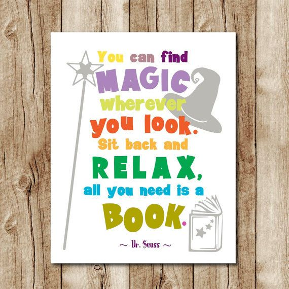 Reading Quotes For Kids: Dr Seuss Quote Print, Kids Room Decor, Dr Seuss Wall Art