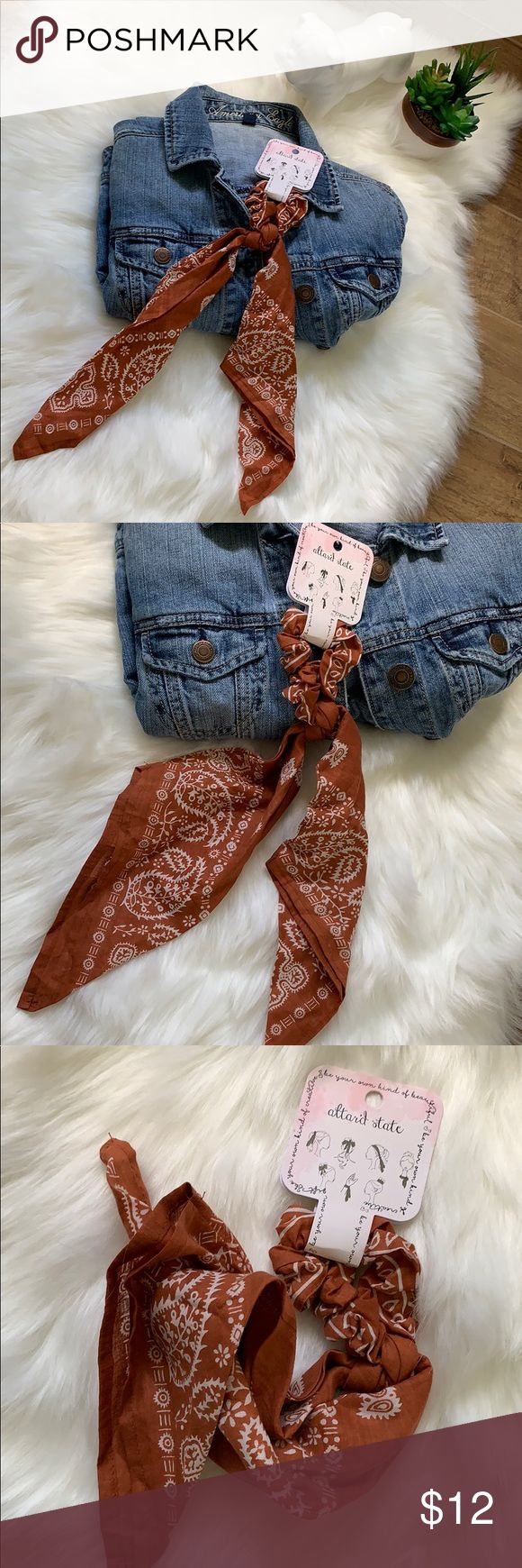 Women's Handkerchief Scrunchie Top Knot Scarf NWT!  Alter'd State Boutique B…