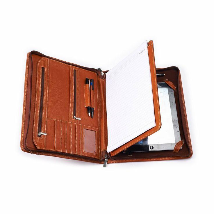 iCarryAlls Portafolio Marrón de carpeta para iPad Air con pad para escribir, sirve para un anotador tamaño carta de 8, 5x11 pulgadas - Amazo...