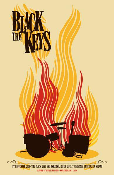 The Black Keys / Okkervil River - Concert Poster (Milano 2008)