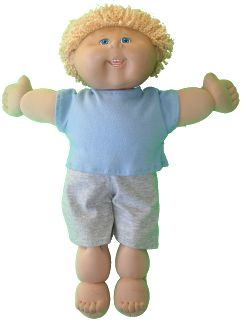 Free T-shirt and shorts (also long sleeves and long pants pj's) pattern for Cabbage Patch Doll