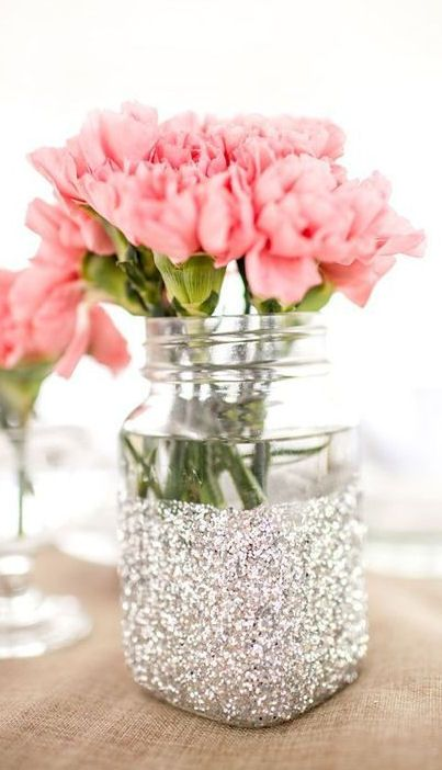 Glitter Dipped Mason Jar with Flowers // Perfect for a Wedding Centerpiece #diy