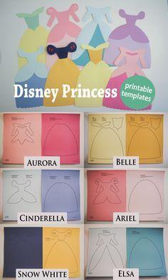 Disney Princess dress printable paper cutouts - Tiana, Ariel, Elsa, Rapunzel, Cinderella, Snow White, Belle, Aurora #disneyprincess #princessdress #papertemplates
