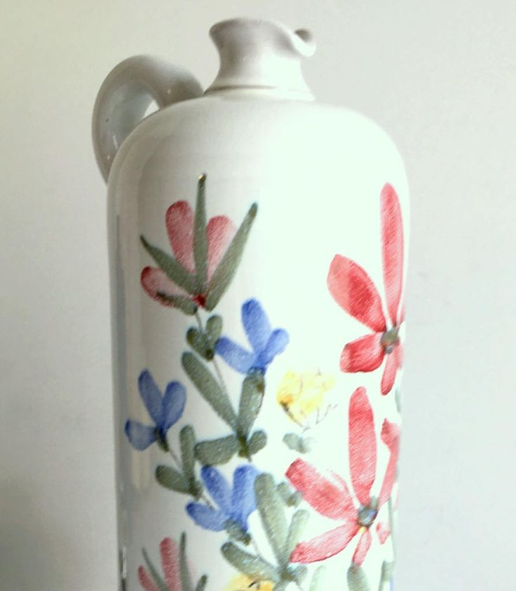 "Vintage Laholm Sweden Jug Vase  10.5""H White Pottery with Hand Painted Floral Design Excellent Condition by TimelessThemes on Etsy"