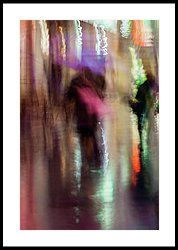 Together under an umbrella by Svetlana Iso.    Abstract background of blurred Couple kissing young people in rainy evening, Impressionism style, colorful lighting. Intentional motion blur. Concept of seasons, weather, modern city.    #SvetlanaIso #SvetlanaIsoFineArtPhotography #Photography #ArtForHome #InteriorDesign #FineArtPrints #Home #Gift #Color  #Rain #Love