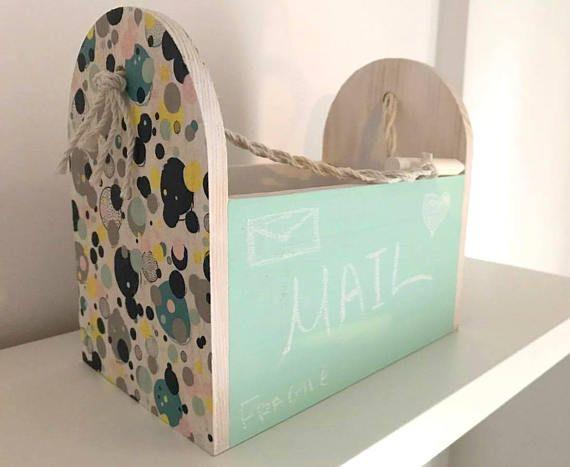 Storage wood box / Box colorful dot pattern / Storage box /