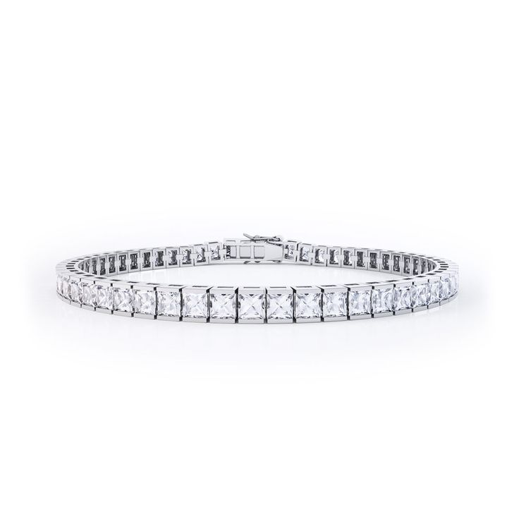 Buy Princess Diamond Silver Tennis Bracelet (White Gold), B72330 from Jian London. Free Delivery on all orders.