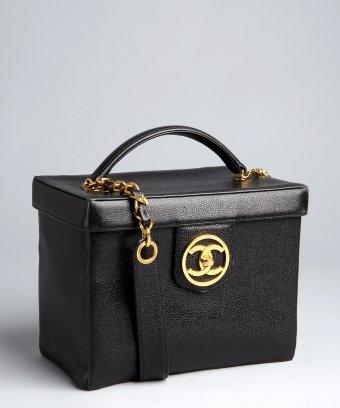Chanel : black caviar leather vintage vanity box vanity
