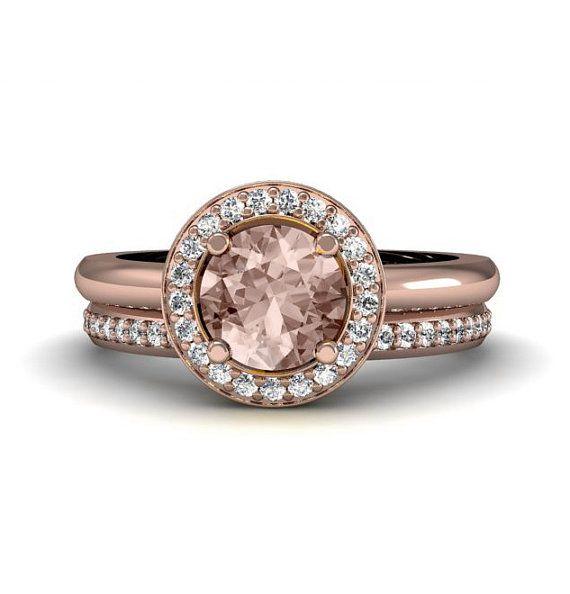 round halo morganite engagement ring and wedding band 14k 18k morganite ring diamond halo custom engagement ring - Morganite Wedding Rings