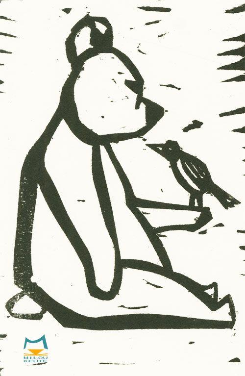 Bär mit Vogel in Holzschnitt gemacht.  Inspiriert von dem Märchen 'Der Zaunkönig und der Bär' von den Brüder Grimm.