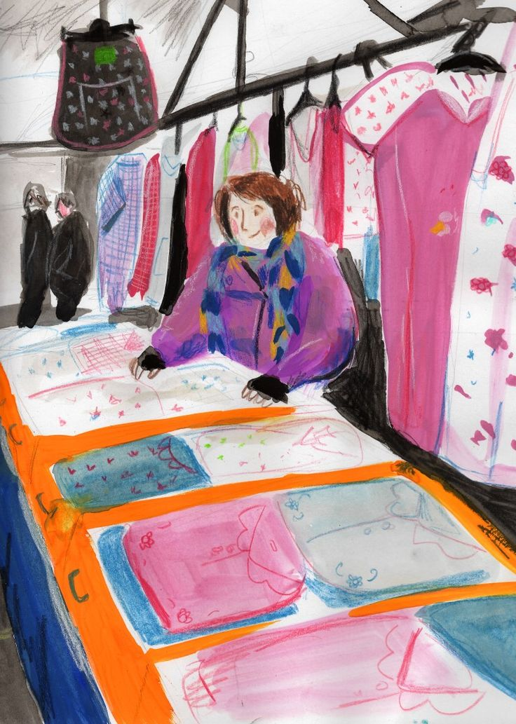 Lucy Dillamore Illustration Boston Market Stall Sequence