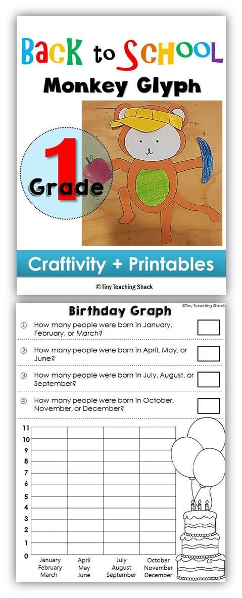 fun way to welcome your students -first grade monkey glyph -graphing printables