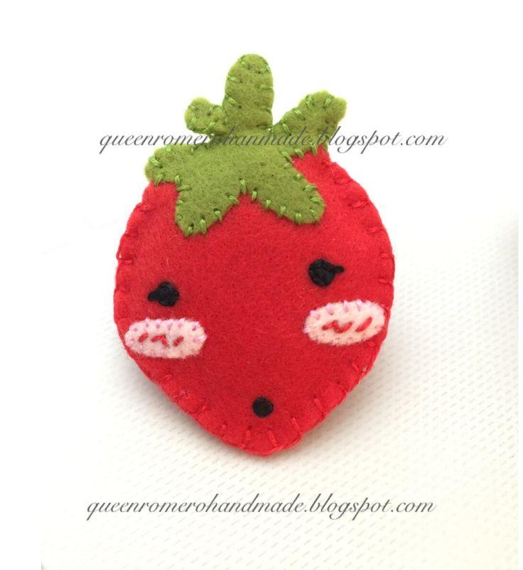 felt strawberry brooch