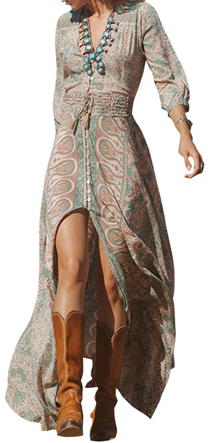 Women's V Neck 3/4 Sleeve Elastic Waist Split Maxi BohemianDress