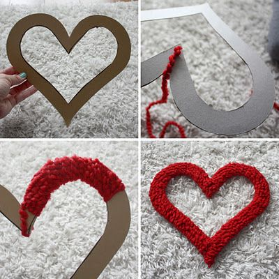 cardboard & yarn wreath - this would be cute for letters and monograms