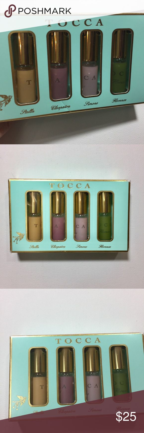 4 Tocca travel size rollerball Travel size  Never been opened  1 Stella 1 Cleopatra 1 Simone 1 Florence Tocca Makeup