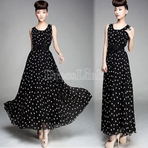Dresslink# Pin to get $100 coupon = Ladies Polka Dots Ball / Evening Gown Chiffon With Belt