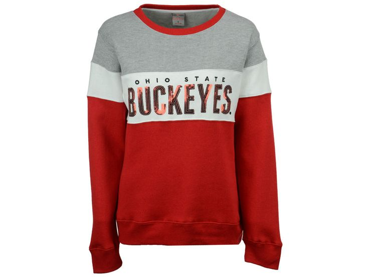 Ohio State Buckeyes J America NCAA Women's Tricolor Fleece Sequin Crew Sweatshirt