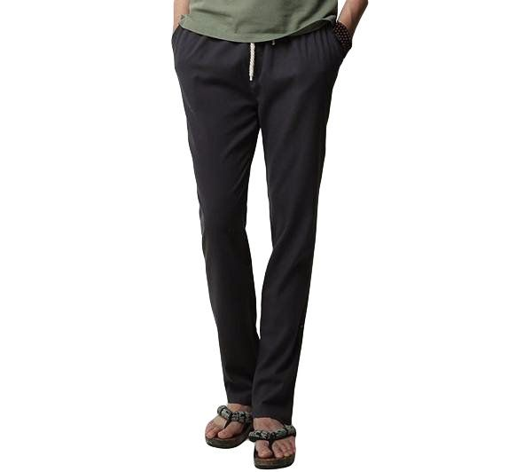 Mens Linen Solid Color Casual Soft Long Trousers Flax Leisure Pants