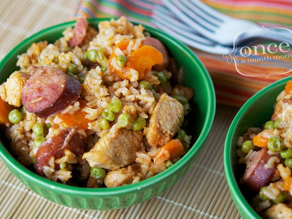 Freezer-friendly Chicken & Rice Bake (with Chorizo, garlic, peas, etc) from Once a Month Mom