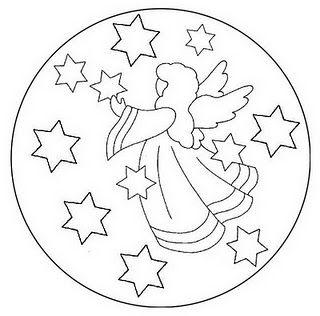 Angel Rodeado De Estrellas Mandalas Infantiles Para Colorear