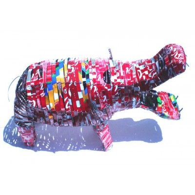 Hippo Coca Cola Sculpture Recycled Handmade Artwork