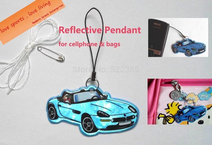 Modelo de coche, colgante reflectante de seguridad visible colgaba en la bolsa, el teléfono móvil, ropa, Envío libre