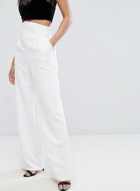 Asos ψηλόμεση λευκή παντελόνα