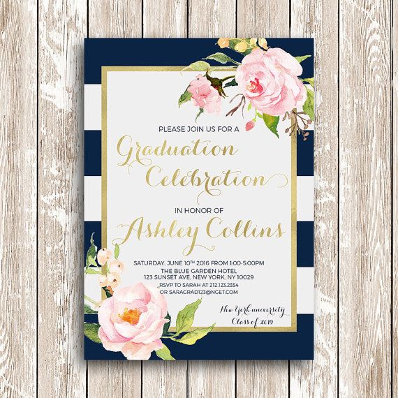 Blue and White stripes graduation invitation printable graduation party invites…