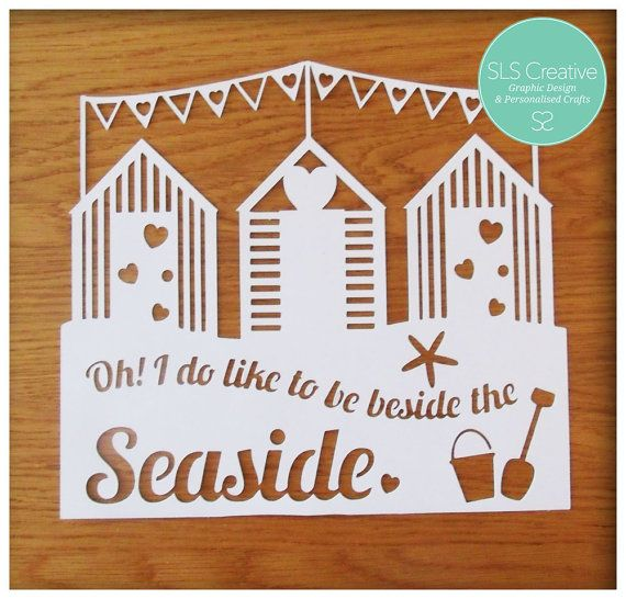 Beach Huts & Bunting - Beside the seaside paper cut template DIGITAL DOWNLOAD -