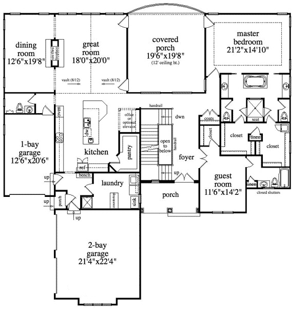 Covered Porches House Floor Master Suite Master Bath Layout Elevator