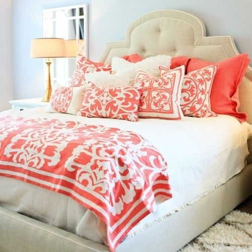 Coral   white love this color!! Guest bedroom!?!?
