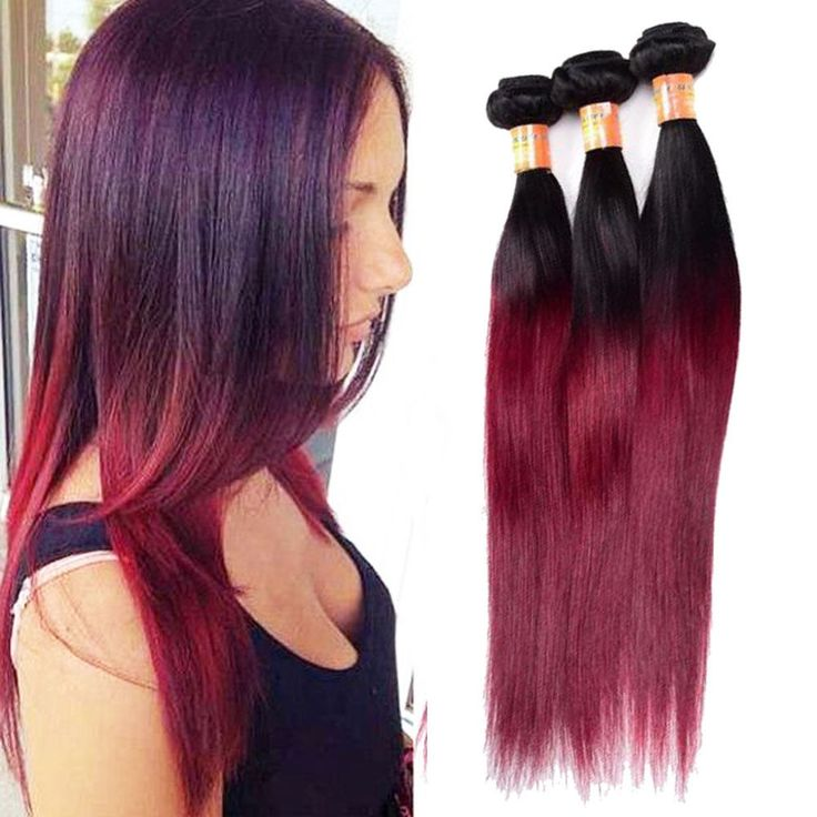 "Full Head 14"" 300g Real Human Hair Extension 1b/99j Straight Hair Weave Weft #Unbranded"